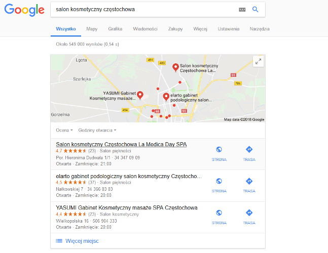 Wyniki z wyszukiwania lokalnego Google