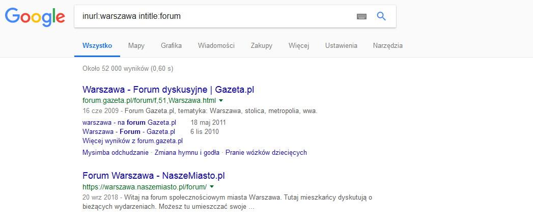 Lokalne fora znalezione za pomocą operatorów google