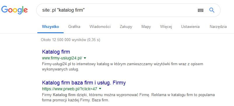 Wyszukiwanie katalogow firm za pomoca operatora site