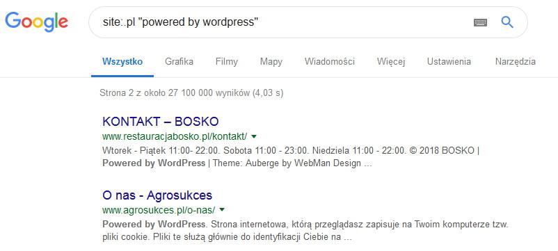 Wyszukiwanie WordPressow za pomoca operatora site
