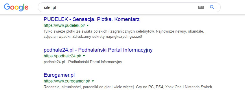 Wyszukiwanie Google za pomoca operatora site